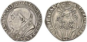 Italy, Rome. Sixtus IV (Francesco della Rovere), 1471-1484. Doppio grosso (Silver, 26mm, 6.82 g 8), dies by Emiliano Orfini, mintmaster Pier Paolo Mariani 'della Zecca'. SIXTVS.IIII.PONT.VRBE.REST. Bare-headed bust of Sixtus IV to left, wearing papal robes. Rev. PVBLICAE* - *VTILITATI Papal tiara and crossed keys over cartouche containing the della Rovere arms
