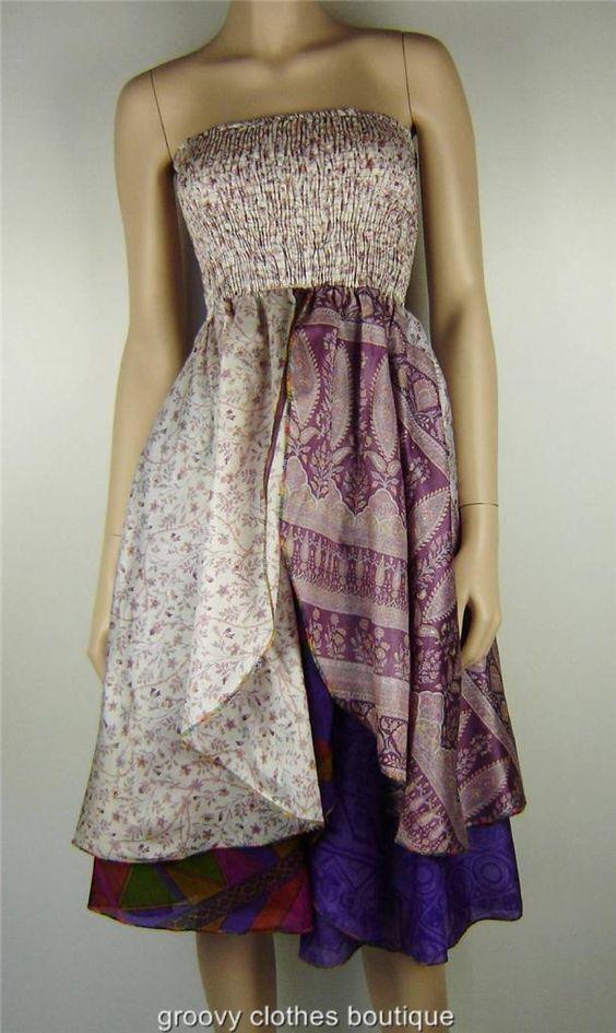 Vintage Gypsy Silk Hippy Boho Split Front Festival Dress SZ 8 16 AU | eBay
