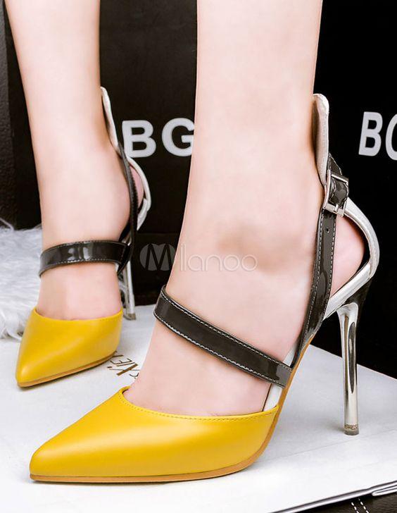 Spitzen Zehe Fersen Color Block High Heels - Milanoo.com