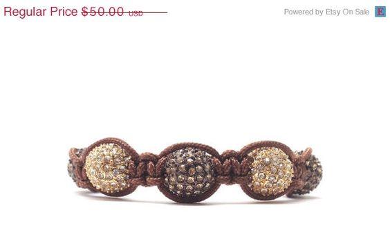 On Sale Brown Macrame Bracelet Beaded by GirlBurkeStudios on Etsy, $45.00