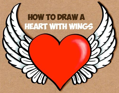 How To Draw A Heart With Wings Easy Step By Step Drawing Tutorial How To Draw Step By Step Drawing Tutorials Easy Love Drawings Wings Drawing Heart With Wings