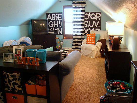 idea for bonus room above garage at the cabin love the ikea shelves ideas bonus room playroom office