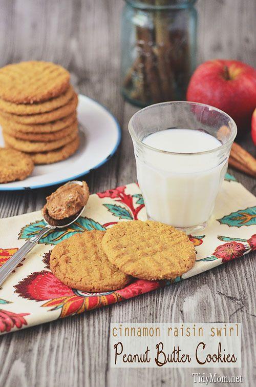 Cinnamon Raisin Swirl Peanut Butter Cookies