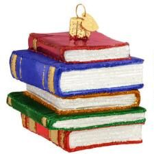 Book Stack Glass Ornament