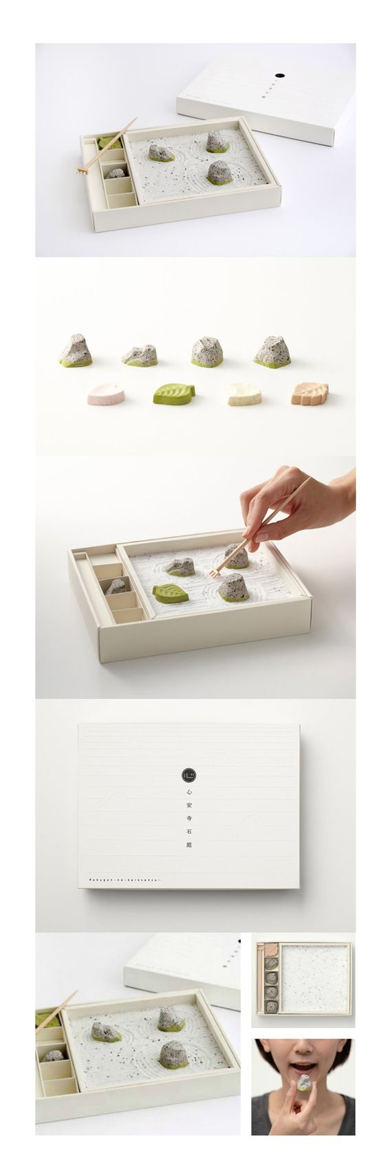 Edible zen garden with black sesame rocks and sugar sand. Here's the extended pin on this beautiful Zen packaging design. PD