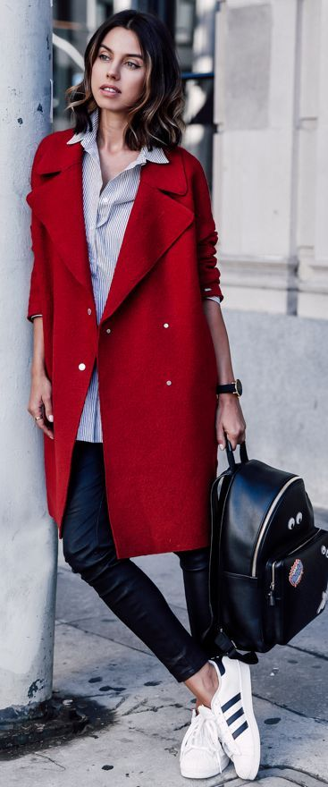 Cherry Red Coat Fall Street Style Inspo by Vivaluxury