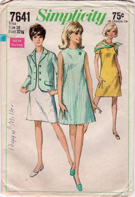 Simplicity 7641 1960s Misses 4H Jacket and A Line  Dress vintage sewing pattern by mbchills