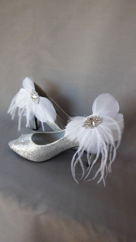 Be Mine, $30.00 These gorgeous feather and crystal shoe clips will be the ultimate finishing touch to your wedding day.