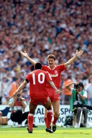 Celebrating with Ian Rush after crossing for him to head the winner in the 1989 FA Cup Final