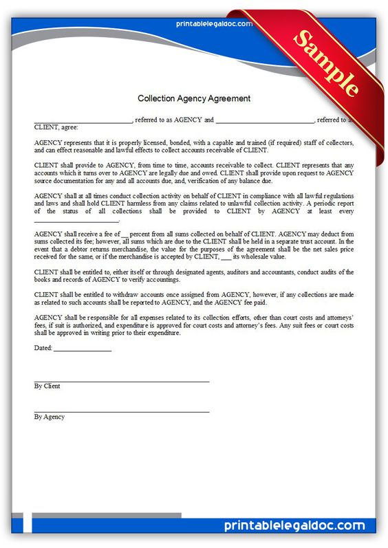 Free Printable Collection Agency Agreement Sample Printable - business agency agreement
