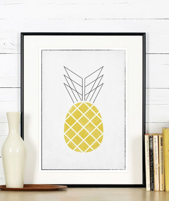 Affiches r tro de fruits art de la cuisine ananas for L art minimaliste