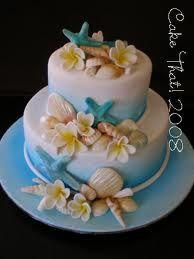 Beach theme cake. Love the tiffany blue and the seashell