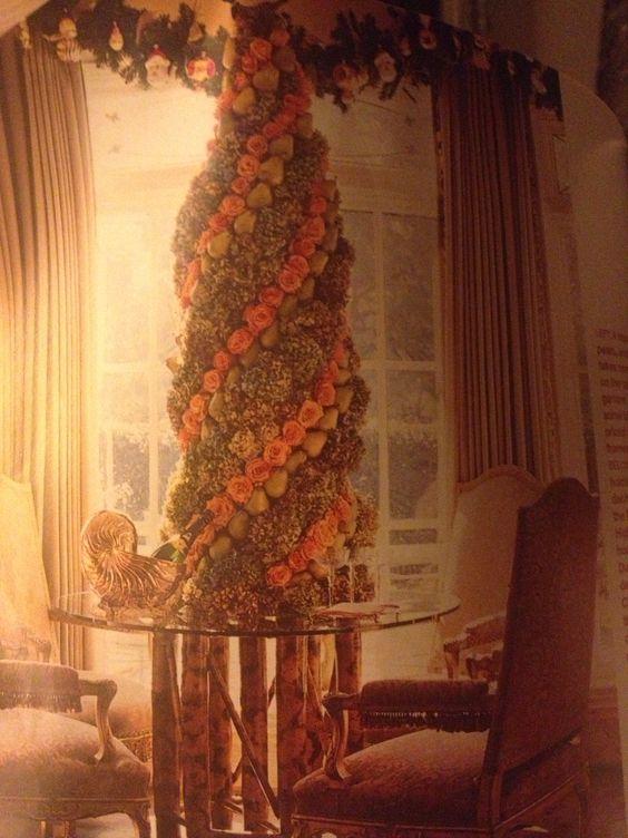 Bronze, orange tabletop Christmas tree