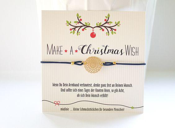 So langsam kehrt die kalte Jahreszeit ein und mit ihr freuen wir uns jetzt schon auf die Advents- & Winterzeit!   Für diese schöne Zeit haben wir uns für unsere MAKE*A* WISH Armbändchen eine hübsche Weihnachtskarte ausgedacht, die ihr natürlich wie immer zu Eurem Schmuckstückchen dazu bekommt.
