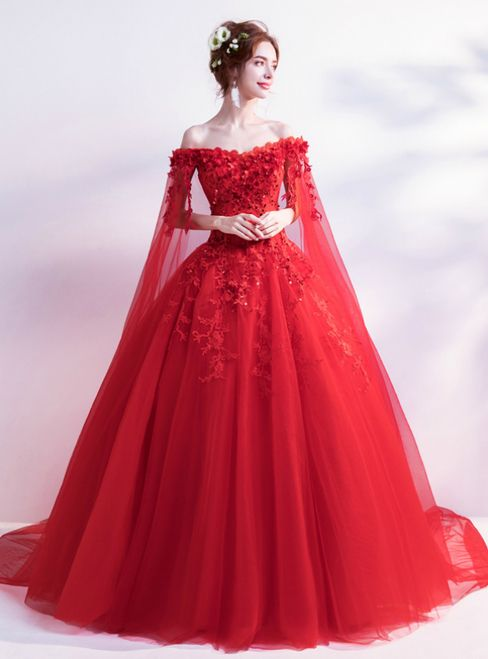 In Stock Ship In 48 Hours Red Tulle Appliques Wedding Dress Red