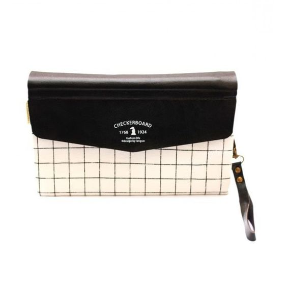 Chekered fabric clutch with leather cream flap