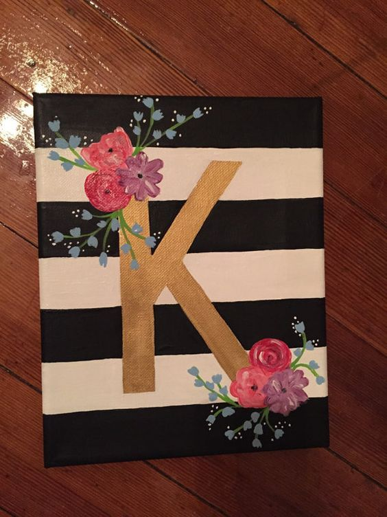Floral letter canvas by charmingcanvases on etsy addelyn for Canvas art ideas for kids