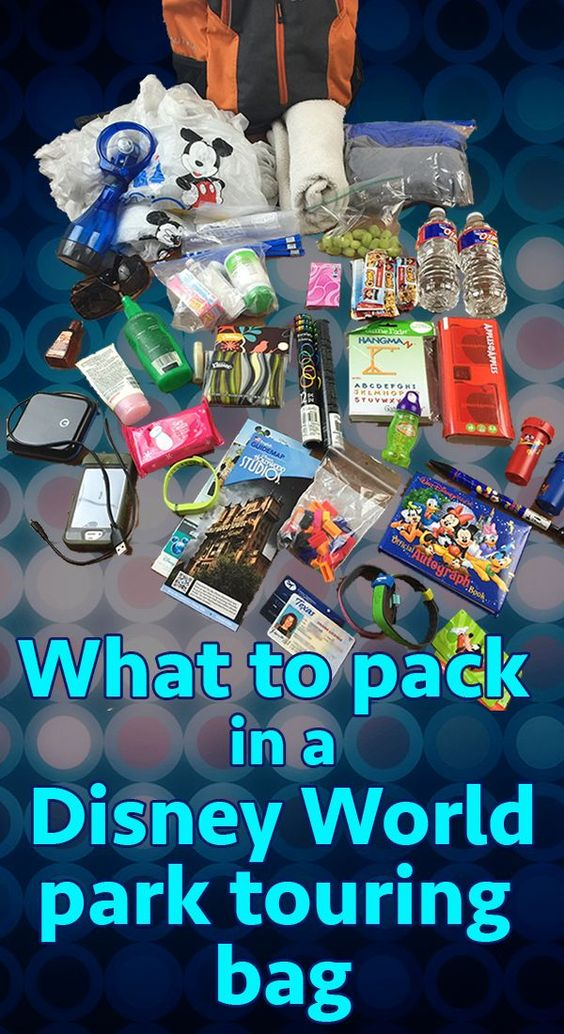 What to put in your Disney World park touring bag - different categories of items to pack + what to do with your bag while you're on rides: