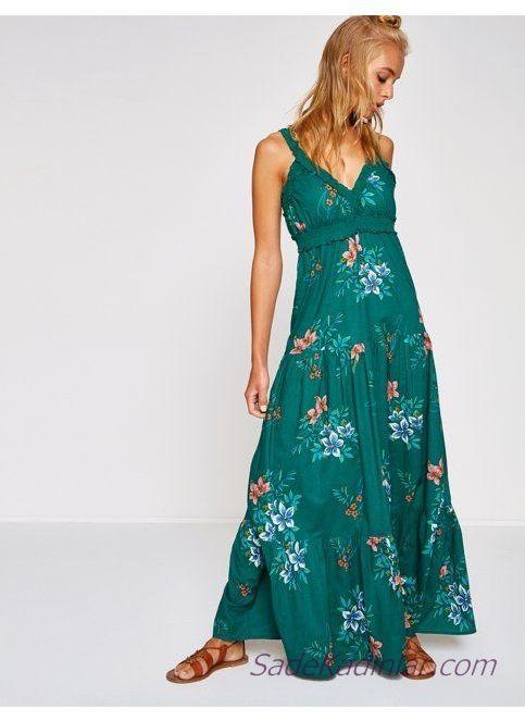 Koton Elbise Modelleri Yesil Uzun Askili V Yakali Desenli Elbise Modelleri Moda Stilleri Maksi Elbiseler