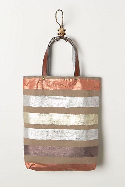 foil striped tote / anthropologie