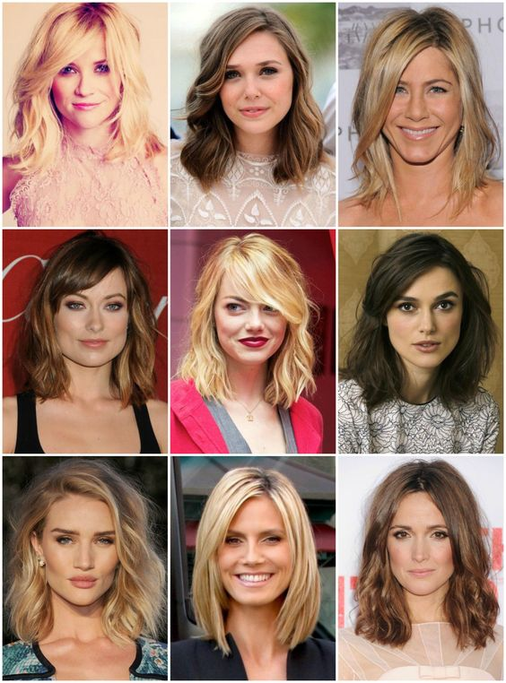 "Note to Self: The ""clavicut""–a long bob that ends at the clavicle–is a really great cut for square-jawed faces (like mine)! Just look at all these beautiful examples! From left: Reese Witherspoon,..."