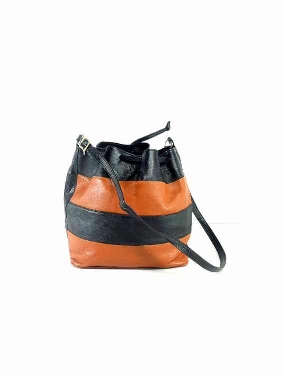 Striped Leather Bucket Bag  Slouchy Bucket by MelissaJoyVintage, $64.00
