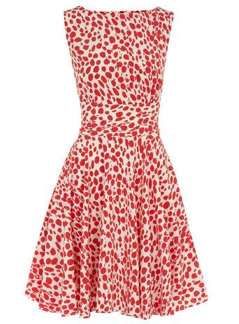 Red dalmatian cut out dress