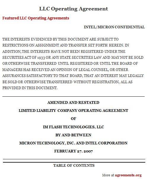 LLC Operating Agreement, Sample LLC Operating Agreement Template ...
