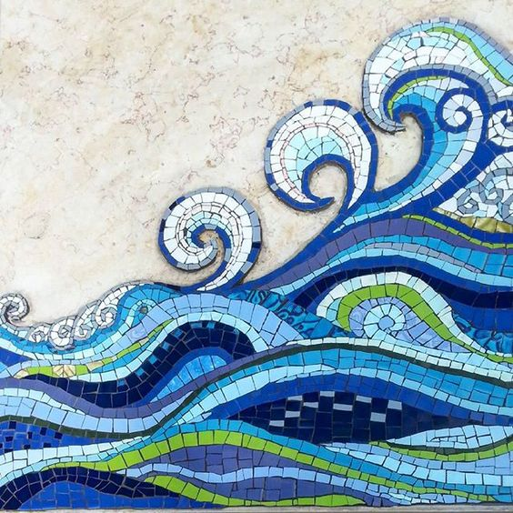 Sea waves on my father's gravestone.  By Margalita It was a labor of love. Ceramic tiles.