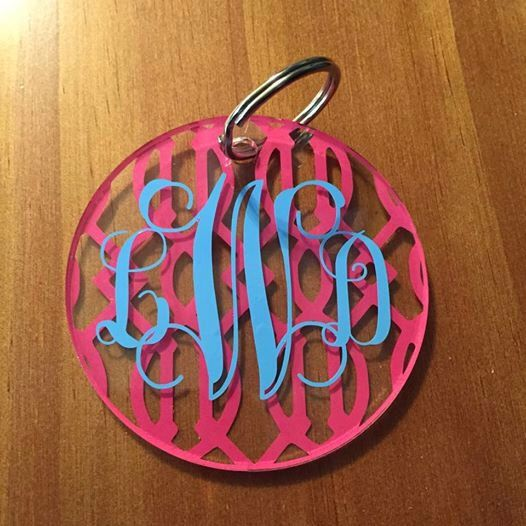 A personal favorite from my Etsy shop https://www.etsy.com/listing/230018395/personalized-acrylic-circle-keychain