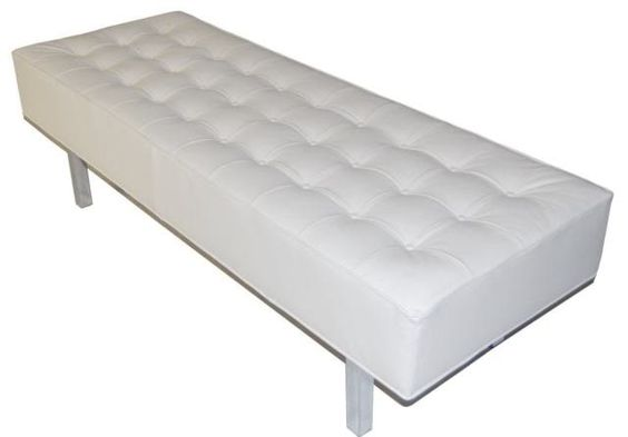 Contemporary Modern White Genuine Leather Tufted Bench Ottoman With Chrome Legs White