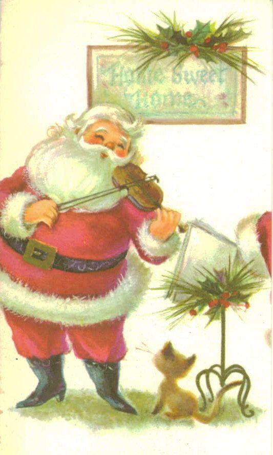 Christmas Card, Unused, Vintage, Santa and Violin. $3.95, via Etsy.