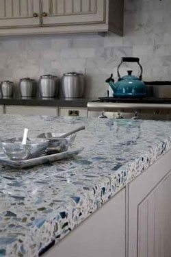Vetrazzo recycled glass countertops. Some of the blue is made from Skyy Vodka bottles!