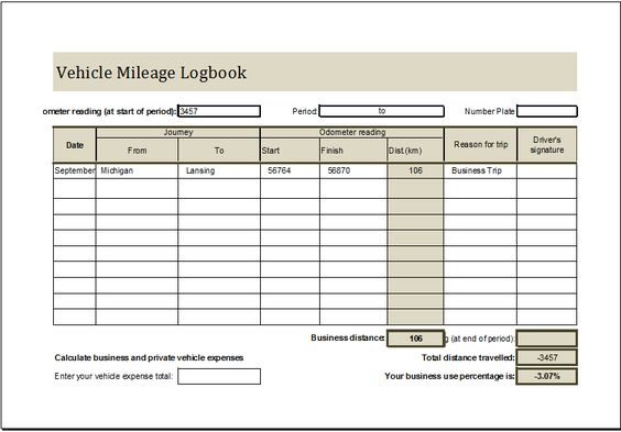 Mileage Log With Reimbursement Log Download At HttpWww