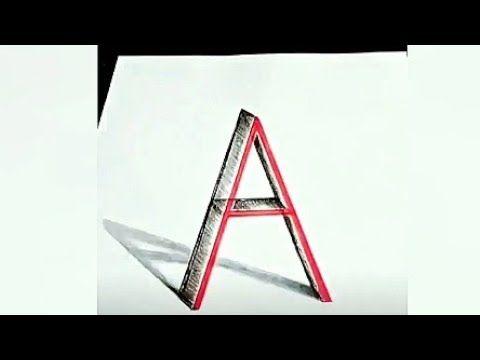 رسم حرف A ثلاثي الابعاد 3d Letter A Drawing Youtube Lettering Drawings 3d Letters