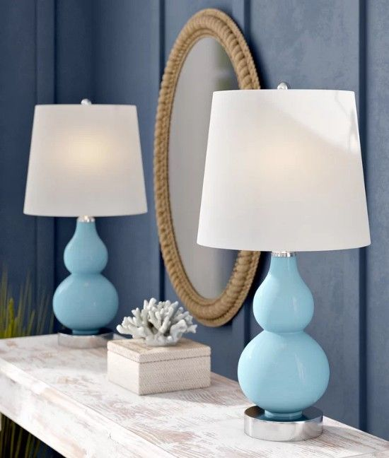 Set Of Beachy Blue Modern Style Table Lamps With Images Blue