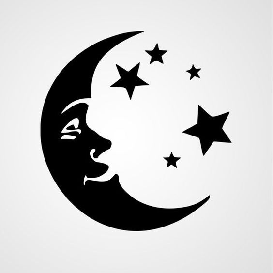 Tattoo Stencils Printable Moon: Crescent Moon And Stars