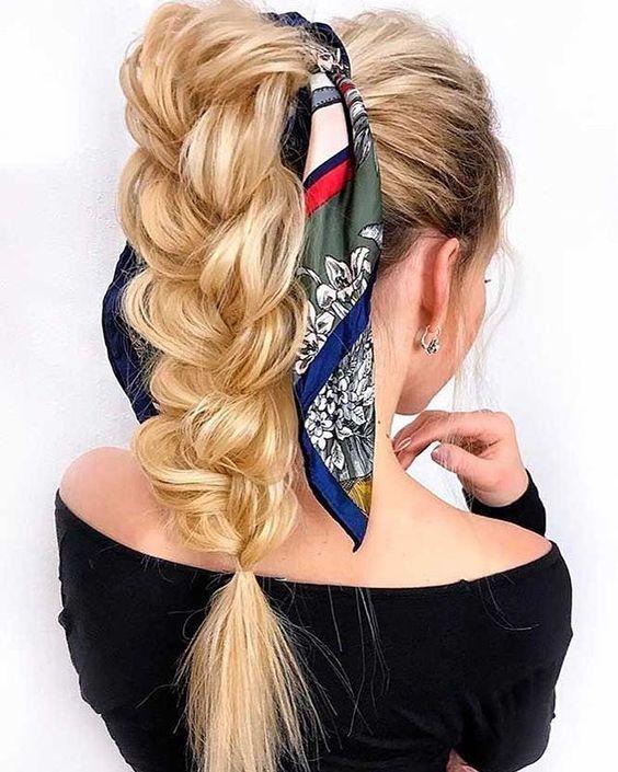 Braid ponytail with scarf #hairstyle #braid #ponytails