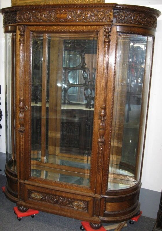 Find best value and selection for your VICTORIAN BEVELED GLASS CARVED OAK  CHINA CABINET ATTR R J HORNER search