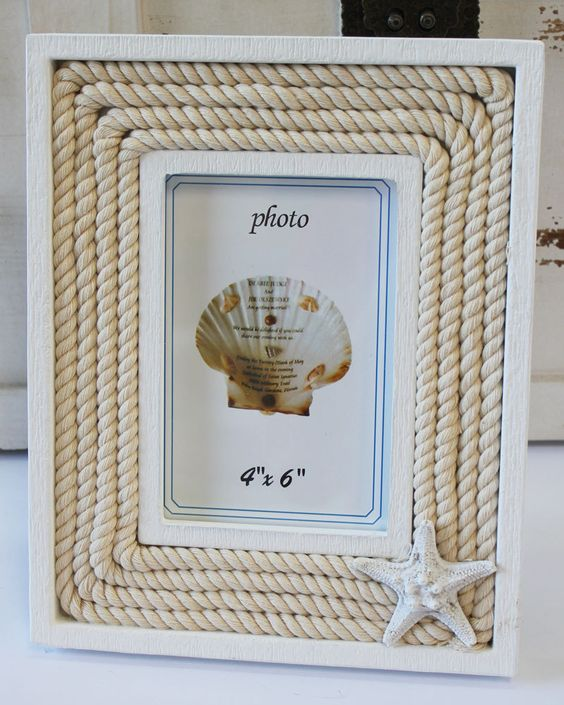 White wood nautical rope 4x6 starfish picture frame for Bungalow style picture frames