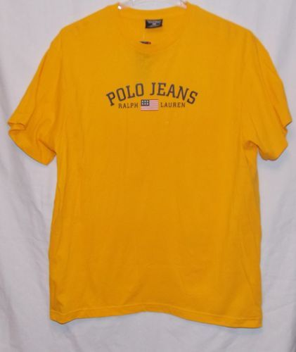 Ralph Lauren Polo Jeans Co Mens T Shirt Size XL Yellow American Flag New | eBay
