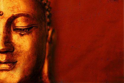 Half Buddha on Red