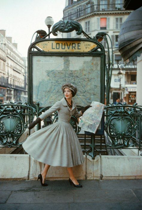 A Christian Dior photo shoot in the 50s, Paris.