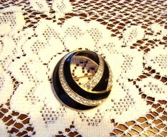 Vintage Trifari Black Enamel Brooch with Rhinestones #Trifari..$24.99
