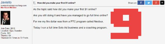How did you make your first $1 online?