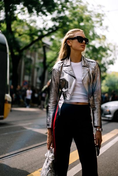$150 Fashion Week Street Style Silver Metallic Alternative Cropped Jackey With Plain White T-Shirt And Tracksuit Style Black Pants With Red Stripe Detail