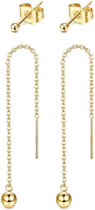 925 Sterling Silver Gold-tone 3-6mm White FWC Pearl Ear Climber Earrings