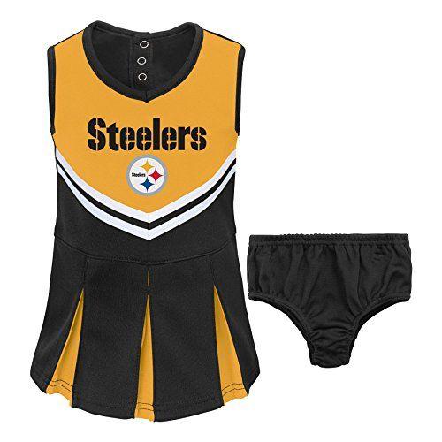 Pittsburgh Steelers Infant Girls Jumper Turtleneck Cheer Dress - Black/White