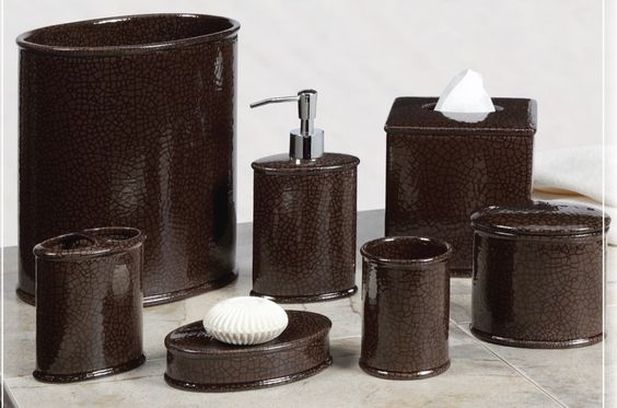 Beautiful bathroom accessories sets with dark brown broken for Pretty bathroom accessories