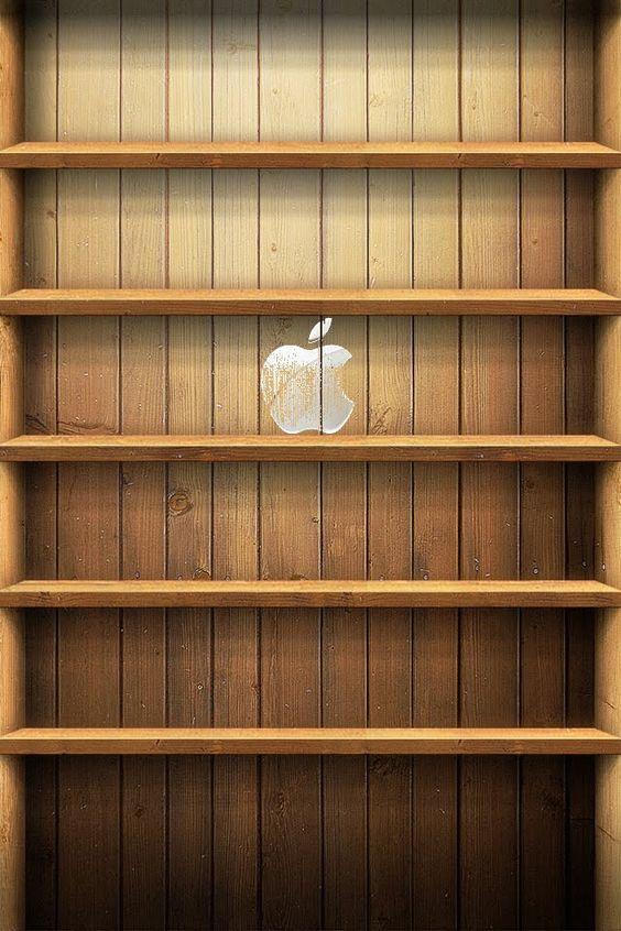 木製本棚風Appleマーク付き
